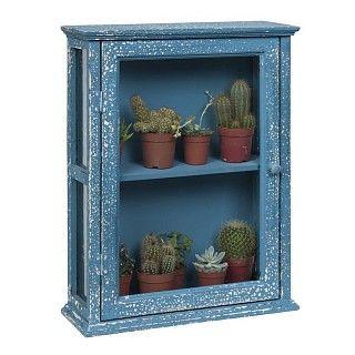 Blauw kastje van hout met glas met een middenplank. Verweerde look. Afmeting 39 x 14 x 49 cm. €49