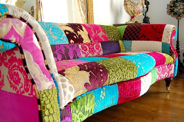 love the idea of re-upholstering boat sofa patchwork style...