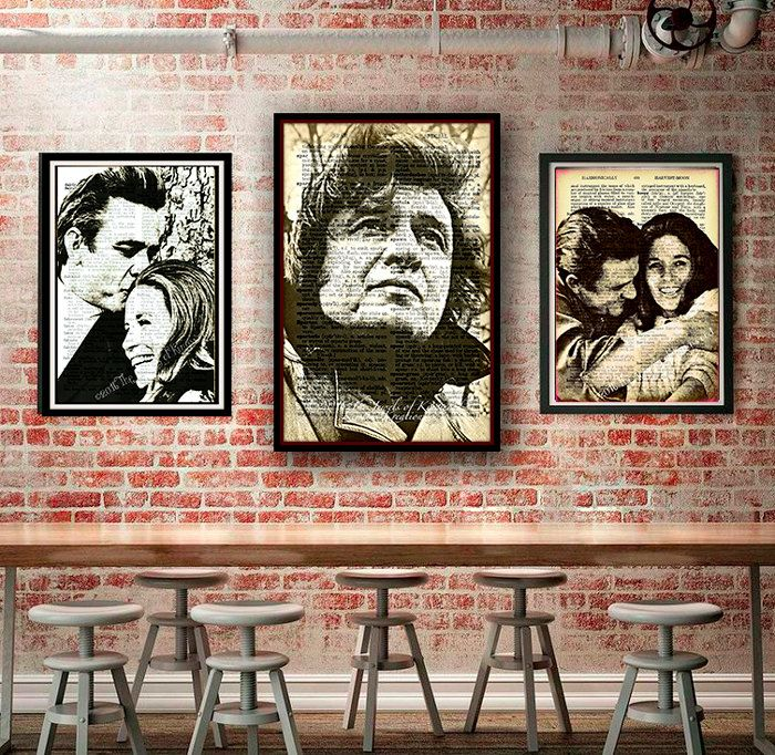 Johnny & June Carter Cash Dictionary Page Art, Home Decor Wall Art, Johnny Cash Vintage Print, June Carter Cash, Wall Hanging, Made in USA - pinned by pin4etsy.com
