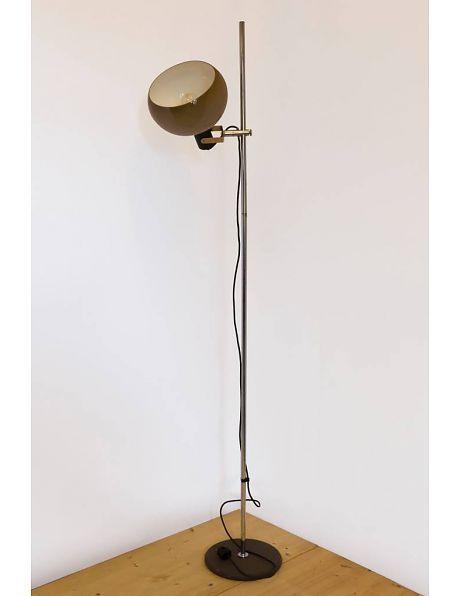 Herda style vloerlamp, bruine bol met chromen armatuur, ca. 1960 - Lamplord