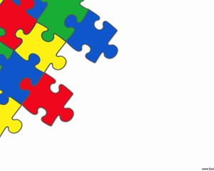 Puzzle Powerpoint with white background and colored puzzle pieces