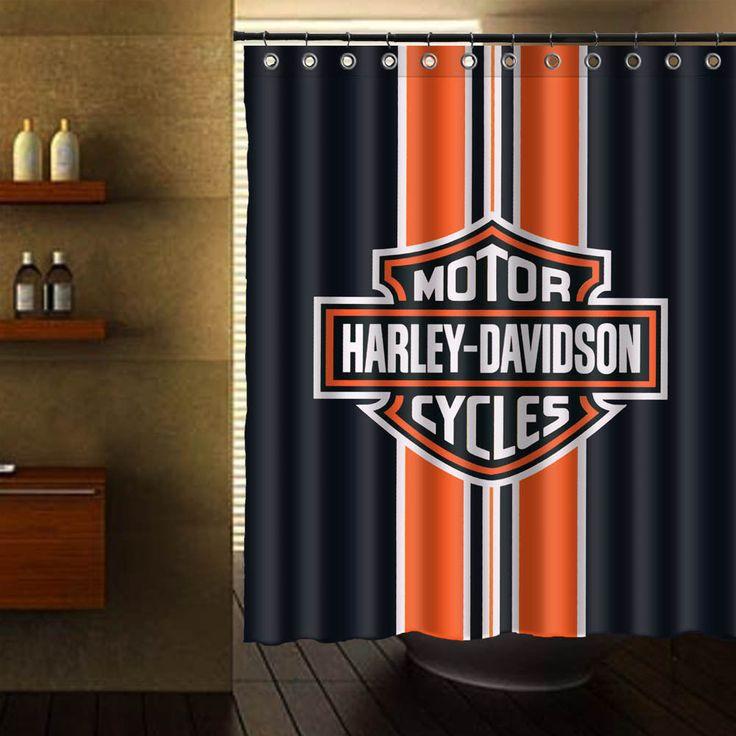 HARLEY DAVIDSON LOGO PATTERN SHOWER CURTAIN #Unbranded #Modern