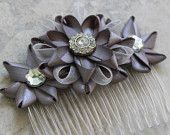 Silver Flower Hair Comb, Pewter Hair Accessory, Bridal Hair Comb, Silver Wedding Hair Comb, Wedding Hair Accessories, Silver Flower Comb