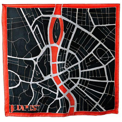 Silk scarf with budapest map any glass scarf rings - Hernyóselyem sál Budapest térképpel és üveg sálgyűrűkkel - panyizsuzsi