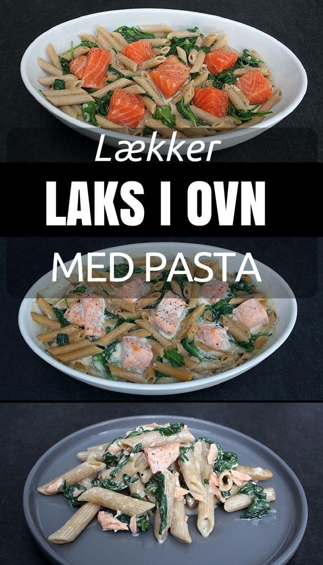 Utroligt lækker ret, hvor saftige laksestykker tilberedes i ovnen med pasta og spinat i en skøn flødesovs.