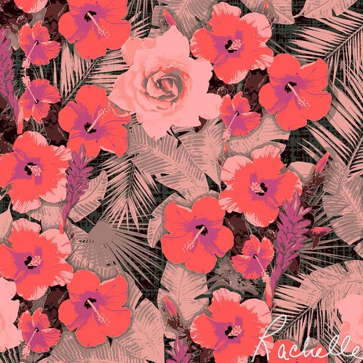 """Waimea"" original print ~ Rachelle C. Happy Friday! Tropical temps forecasted for this weekend, stay 😎 cool🌴 #90degrees #tgif #goodmorningfriday #hibiscus #hawaiian #palms #coral #blush #pink #tropicalgirl #print #pattern #textiledesign #surfacedesign #fashiondesign #interiordesign #patternobsessed #islandstyle #hangloose #surf #sand #beach #summer #textiledesignstudio #rachellecalioliodesign #dowhatyoulovelovewhatyoudo"