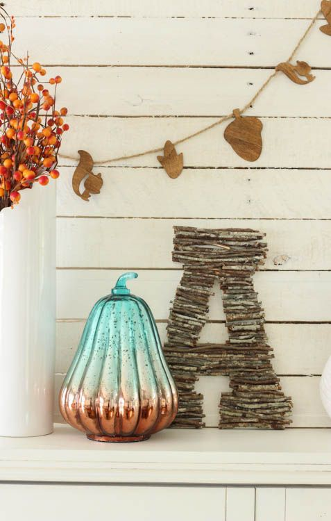 Turquoise & Coral Fall Mantel at thehappyhousie.com-9: