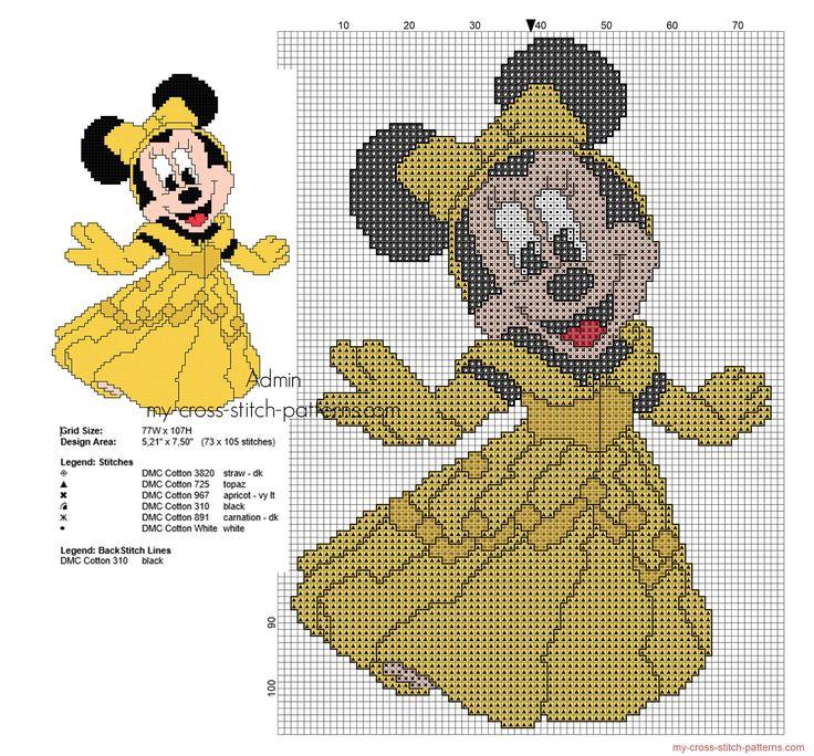 Minnie Principessa Belle schema punto croce ricamo