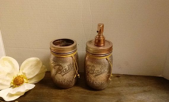 bathroom set, soap dispenser and toothbrush holder set, rustic,  country style,  farmhouse, bridal shower, wedding gift