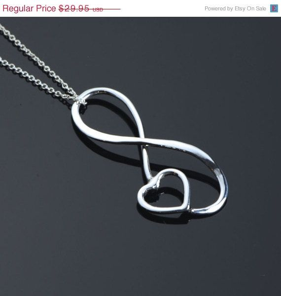 SALE Infinity Pendant - Heart Necklace - Infinity Jewelry - Heart Jewelry - Argentium Sterling Silver - Handmade on Etsy, $23.96