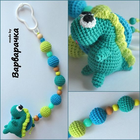 soother clip with amigurumi dragon by ForYourHappyBaby on Etsy