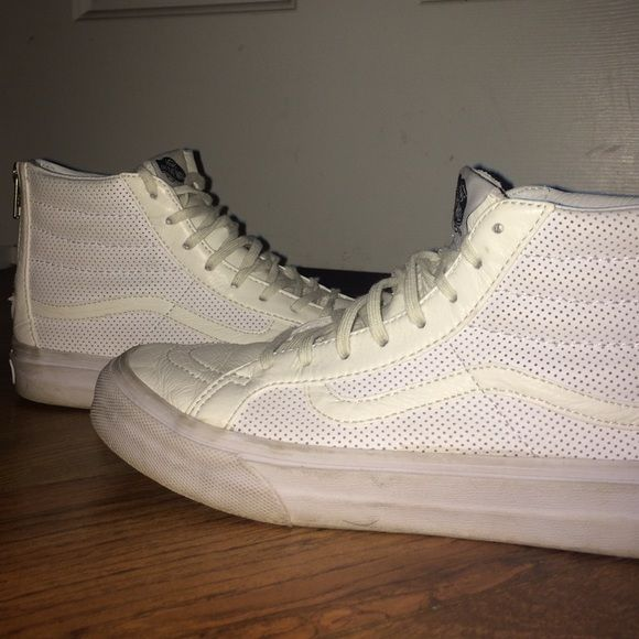 High top Leather Perforated Vans white leather vans! like new, worn twice. size 7 and super comfortable + stylish! Vans Shoes Sneakers