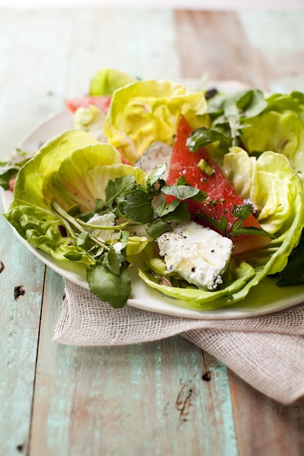 Watermelon, Pistachio & Baby Greens Salad with Goat Cheese ... a salad that's as beautiful as the season it celebrates.: Babies, Green Salad, Baby Green, Fresh Salad, Eating, Edible Living, Pistachios Baby, Cookbook Edibleliv Com, Fresh Watermelon