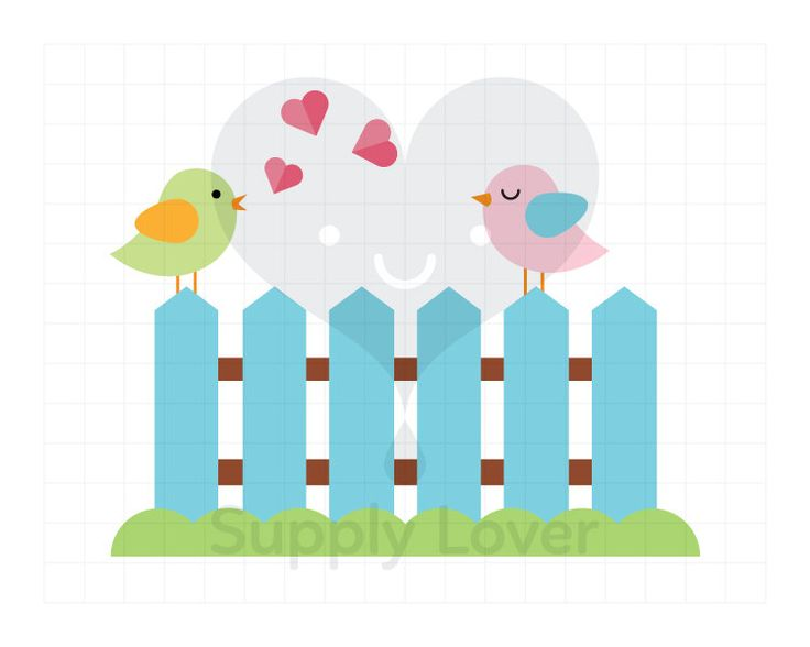 LOVEBIRDS Clip-Art Commercial Use, Birds on Fence, Bird, Heart, Fence, Love, Blue, Green, Pink, Love song - A0015