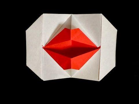 Origami Kissing Lips.     折り紙 パクパク 動く 口 - YouTube