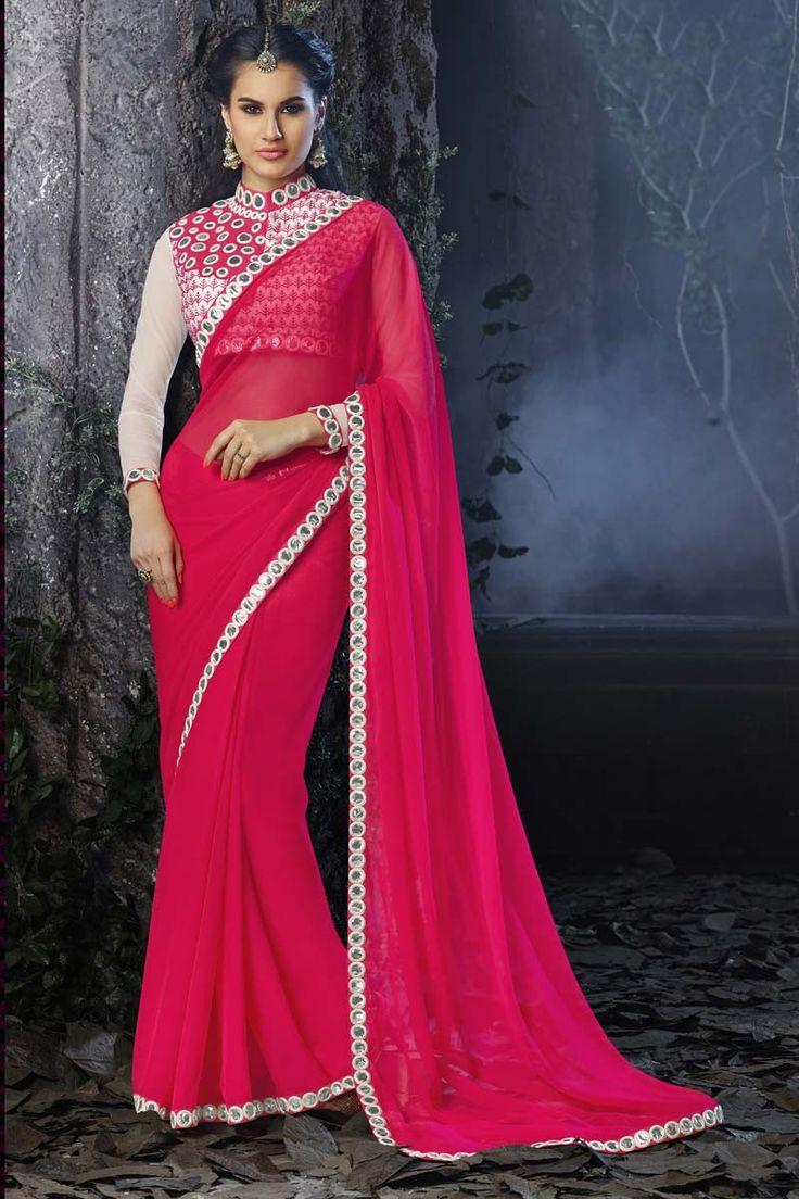 Pink Chiffon Designer Saree