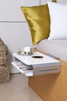 """Mini-Nachttisch """"OPTION"""" Bettablage als Alternative zur Nachtkonsole - Nachttisch zum einhängen Es gibt nicht schöneres als einen kuscheligen Fernsehabend oder Leseabend im Bett. Der Lifestyle Mini Nachttisch """"option"""" bietet..."""
