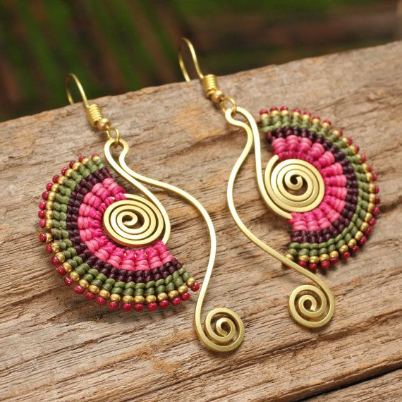 Woven cotton earrings with shaped brass in pink by cafeandshiraz, $48.00