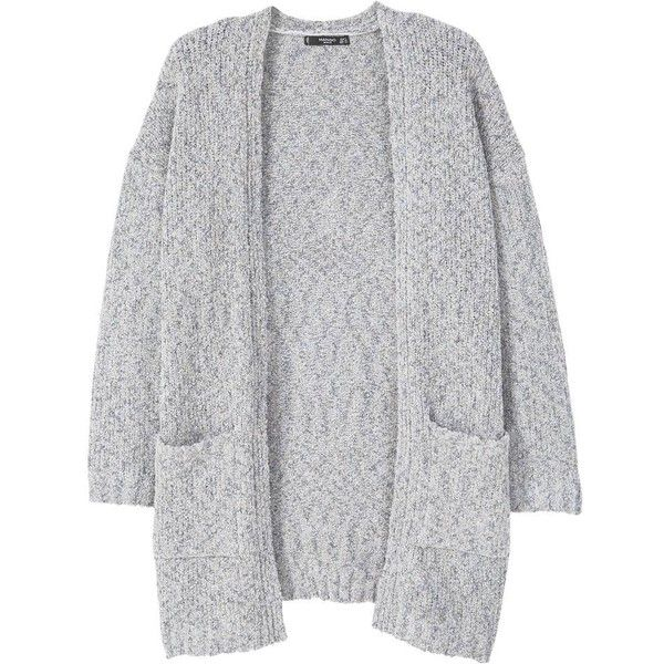 Chunky Knit Cardigan (595 UYU) ❤ liked on Polyvore featuring tops, cardigans, outerwear, jackets, sweaters, chunky cable knit cardigan, macrame top, long sleeve cardigan, crochet tops and mango cardigan