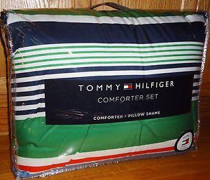 Tommy Hilfiger Derby Stripe 2P Twin Comforter Sham Bedding Set Blue Green Orange