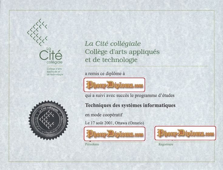 La Cite Collegiale college d'arts appliques et de technologye, French, Fake Diploma from Canadian School from PhonyDiploma