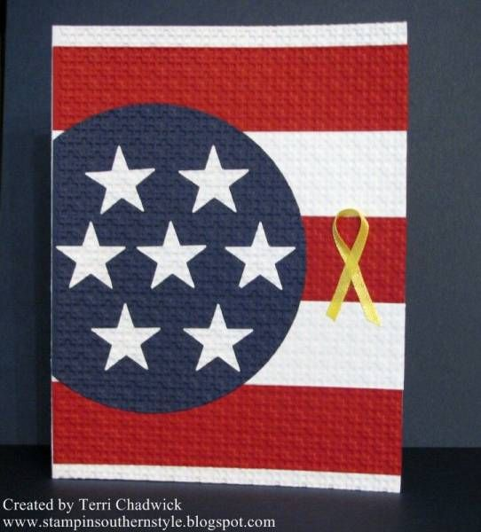 handmade Quilted Card ... patriotic theme with flag parts ... punched and die cuts adhered and then embossed to embed them ... luv the deep bright red, white and blue ... little yellow ribbon ... no sentiment ...