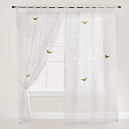 White Bird and Botanical Burnout Curtain