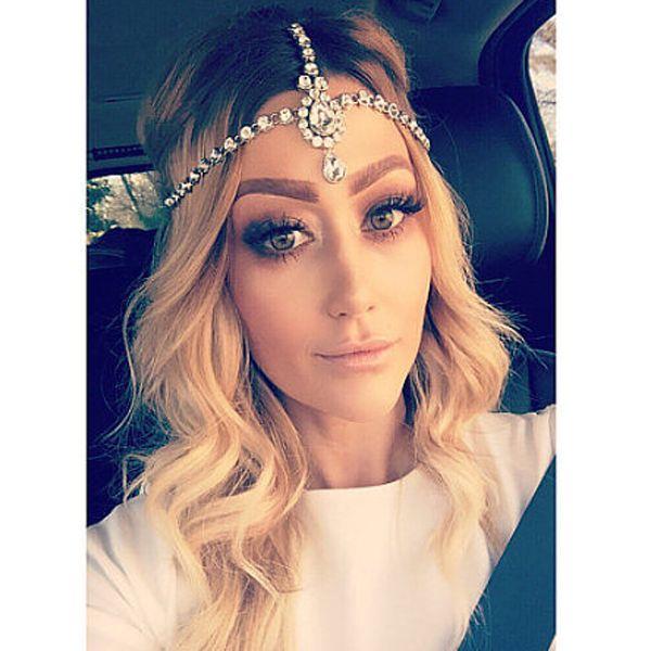 Handmade Kundan Head Chain Hair Jewelry Matha Patti Prom Wedding Gem Tikka Bridal Headdress Bohemian Goddess Boho Glam