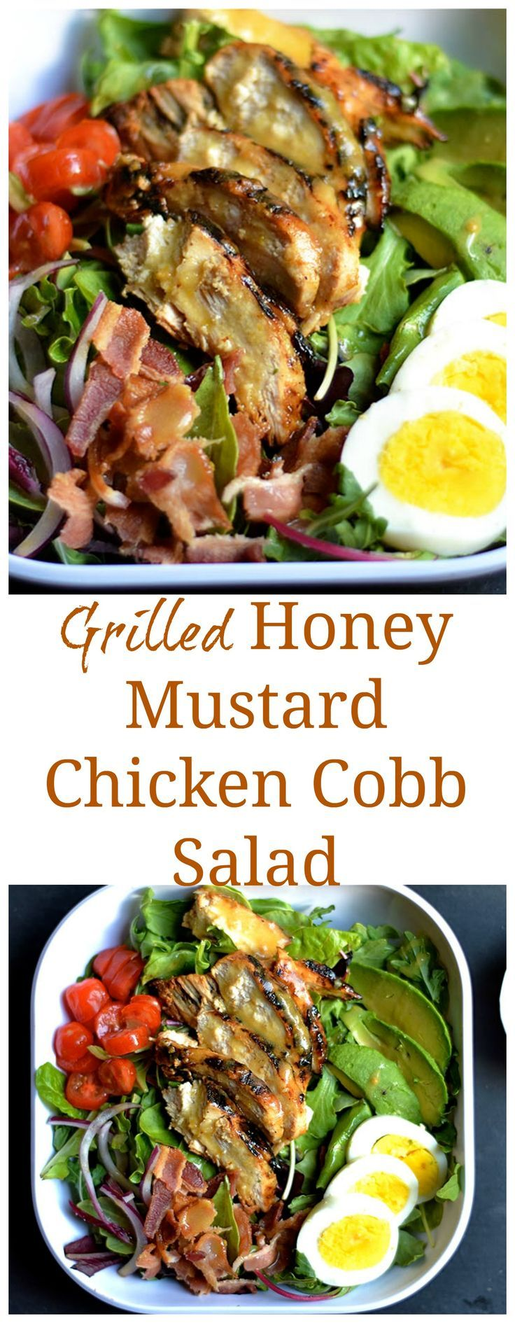 Traditional Cobb salad topped with the most delicious grilled honey mustard chicken and dressing! Paleo, & GF,