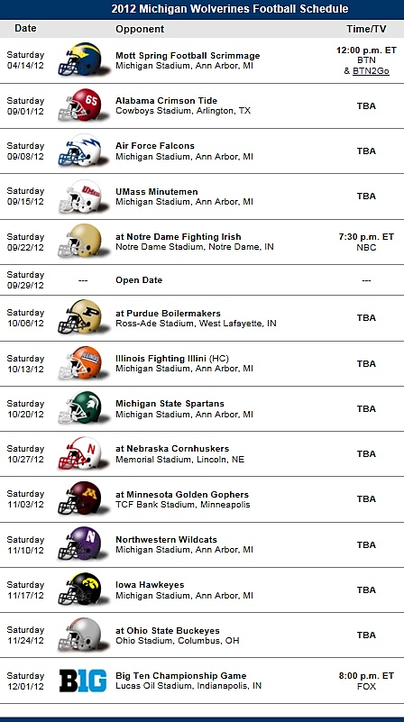 Michigan Wolverines Football Team 2012 Schedule