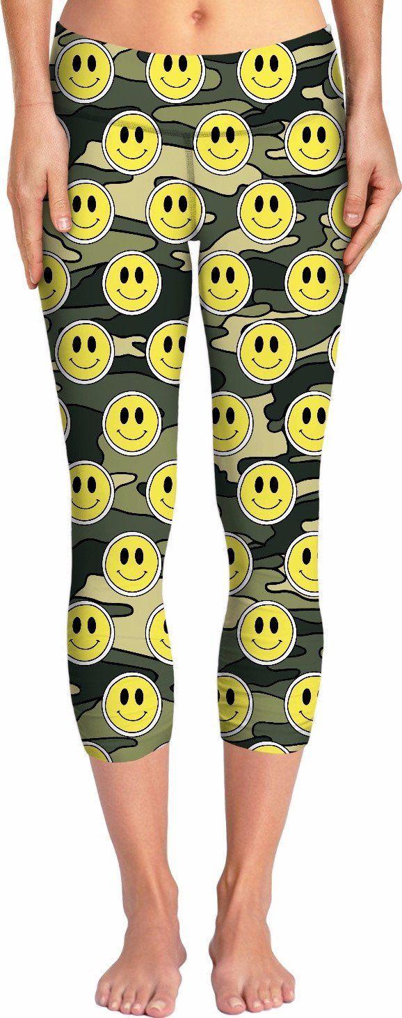Smiley Green Camo Yoga Pants