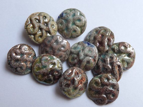 11 Ceramic buttons 16mm  17mm /  06  Celtic by BlueBirdyDesign, €20.00