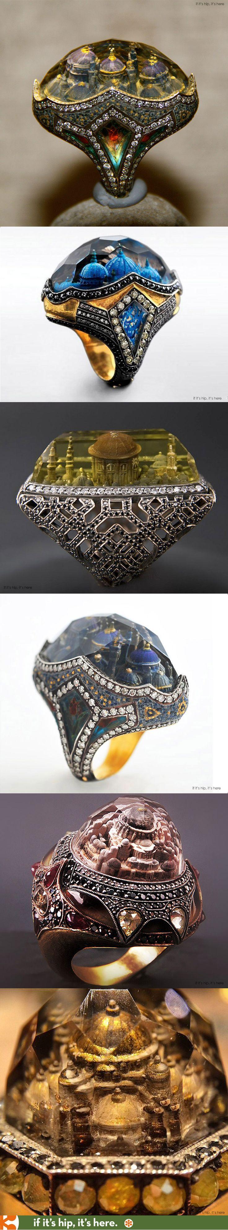 Incredible Istanbul Mosque rings by jeweler Sevan Biçakçi.
