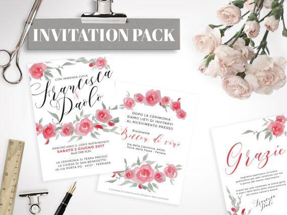 Kit Matrimonio Rose rosse STAMPABILE di lolobottega su Etsy - Annuncio della cerimonia -  Invito al matrimonio con i dettagli della festa - Biglietto di ringraziamento - Nome tavolo - Menù - Segnaposto