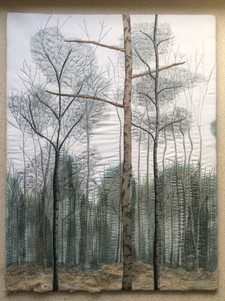 Art quilt created by Karen Lane, based on a photograph taken in woodland at Woodhall Spa, Lincolnshire.