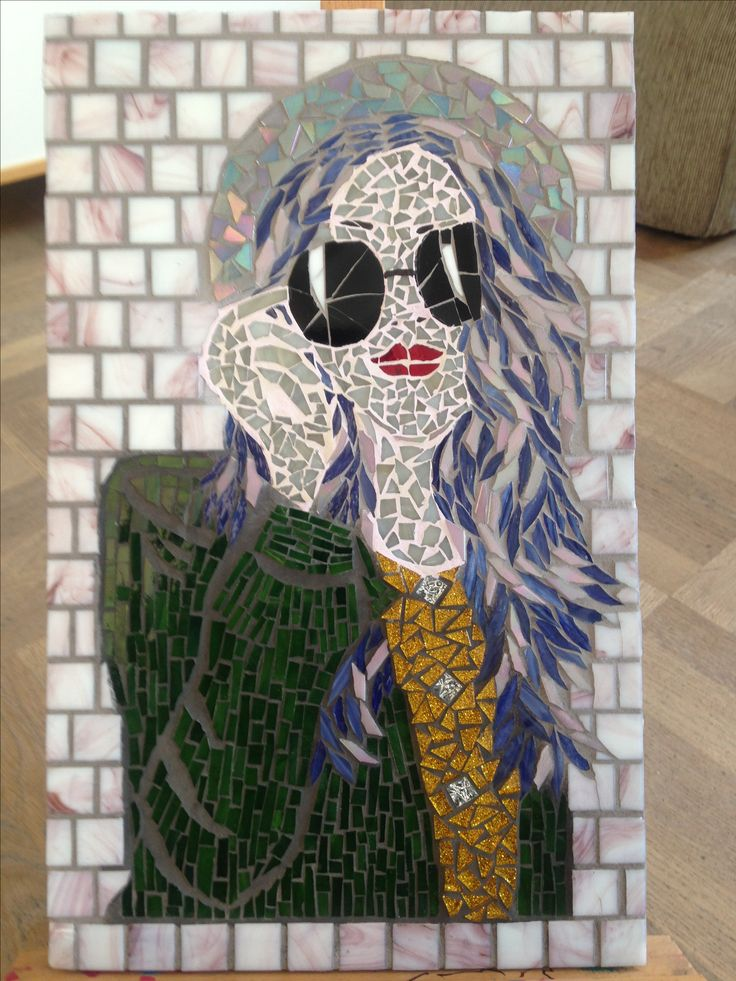 mosaic from an ilustration, practicing different technics:-)