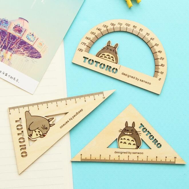 Japan Totoro design Hollow Straight Ruler ruler+Protractor+Wooden Ruler Cartoon Stationery Set office school supplies - free shipping worldwide