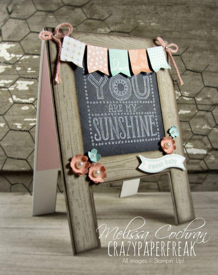 Stampin' Up! Easel chalkboard baby banner card created by Melissa @ crazypaperfreak.blogspot.com. Hardwood, Banner Blast, Itty Bitty Banner, Boho Blossoms, SU