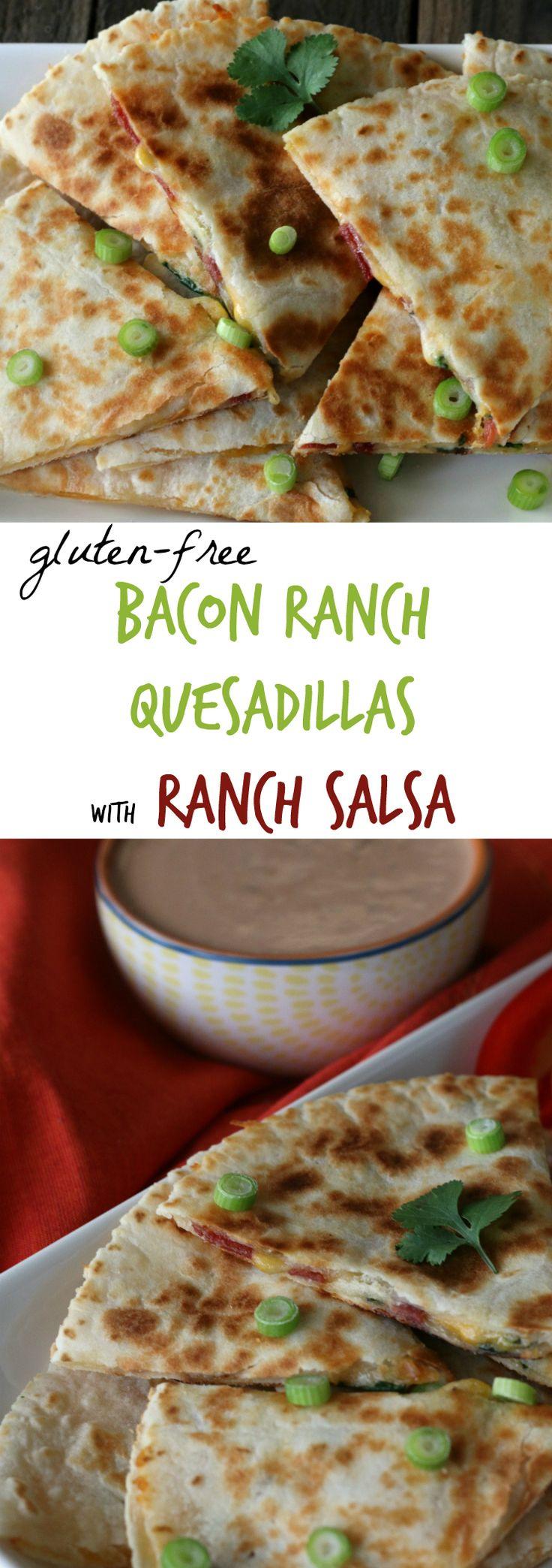Gluten-free Bacon Ranch Quesadillas with Ranch Salsa. Easy weeknight dinner recipe!