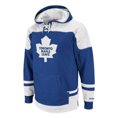 Toronto Maple Leafs Power Play Hoodie Size M by Reebok. $59.00. The Power Play Hoodie by Reebok features: - 80% cotton, 20% polyester - 100% cotton jersey hood lining - Tackle twill embroidered team logo with satin stitch - Contrast color yoke - Striping inserts - Hockey skate lace drawstrings tie up at neck with metal grommets - Kangaroo pocket