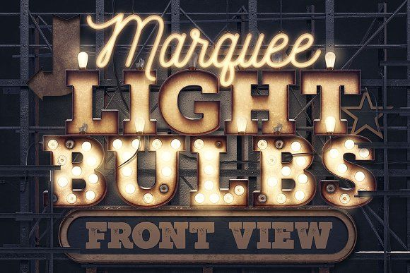 Marquee Light Bulbs - Front View by tvartworks on @creativemarket