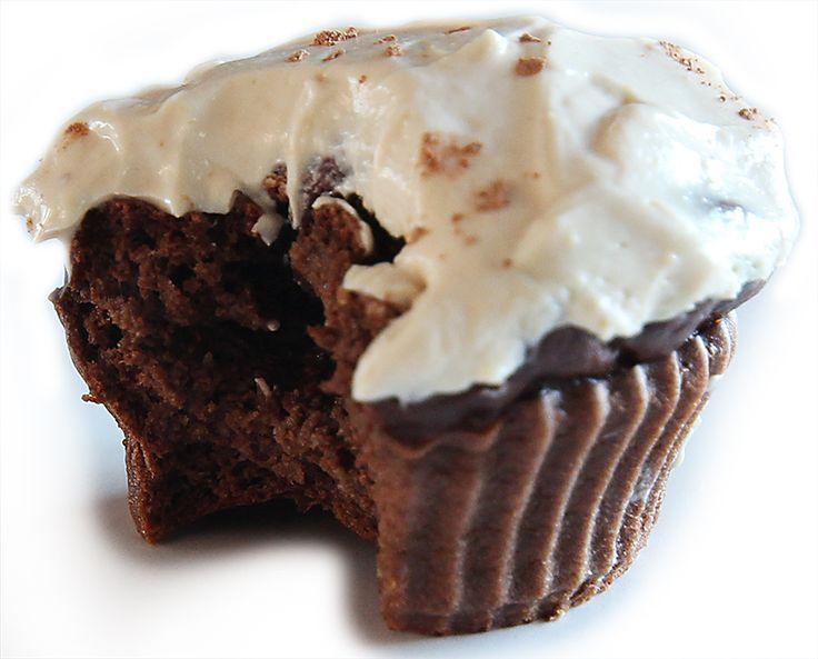 Dark Chocolate Protein Cupcakes With Peanut Butter Greek Yogurt Frosting - 12 Minute Athlete