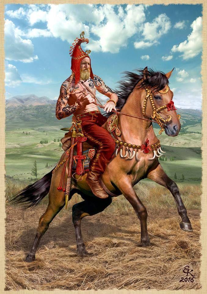 Recreation of the Scythian tattooed warrior found in burial.