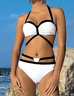 De las mujeres Bikini-Monocolor Push-Up-Halter-Poliéster