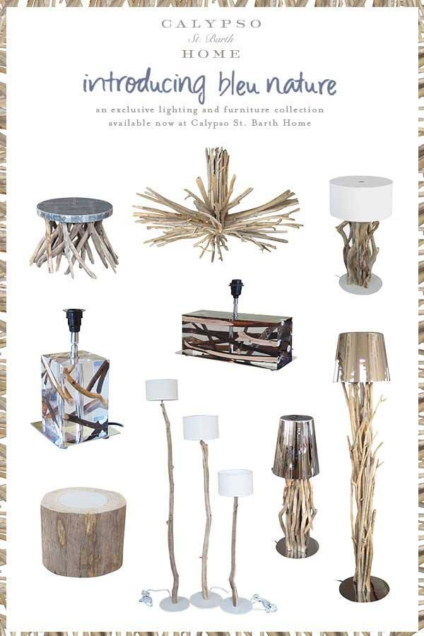 Bleu Nature : an exclusive collection available now at Calypso St. Barth Home. #decor #wood #lighting