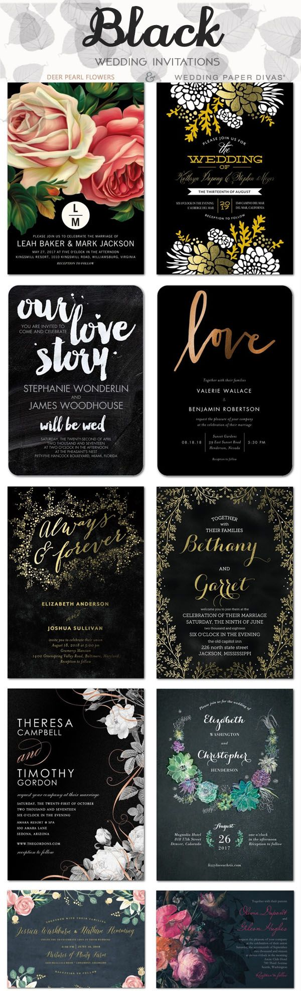 Black wedding color ideas - black wedding invitations / http://www.deerpearlflowers.com/wedding-paper-divas-wedding-invitations/2/