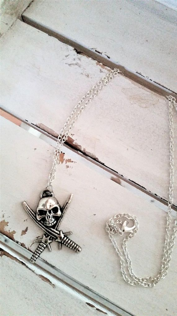 Skull and swords pendant necklace  biker/pirate/skull metal