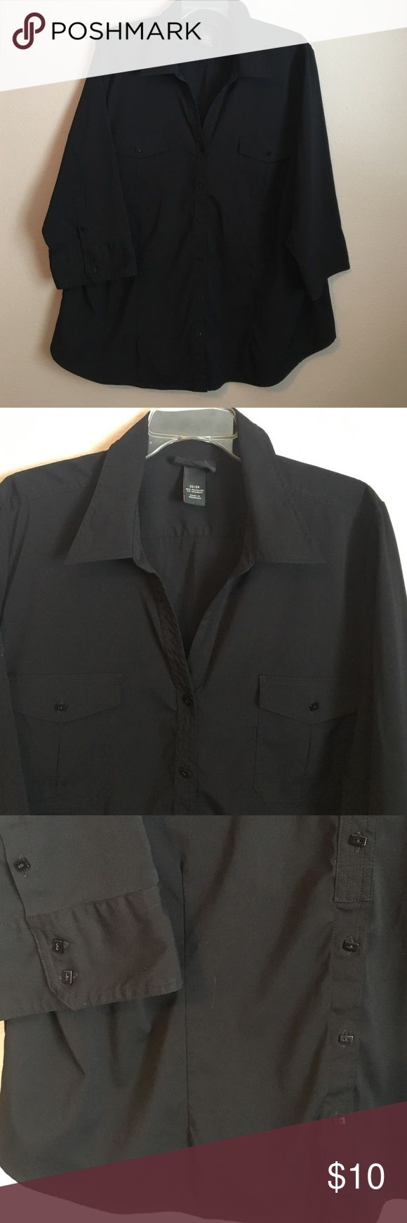 Black Professional Blouse Plus Size Black Professional Blouse is made of Polyester and Spandex to hold shape and give you that crisp fresh look. Is is Size 22/24. Lane Bryant Tops Button Down Shirts