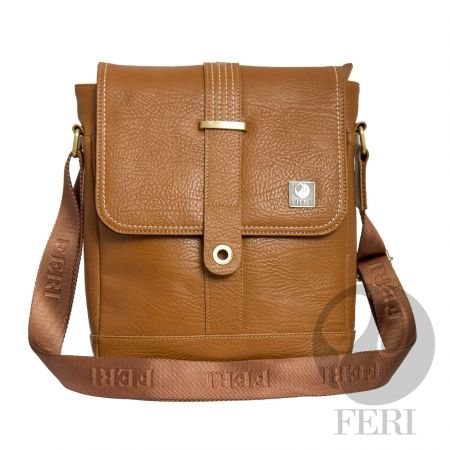 "luxury FERI Rinaldo Murse Tan Global Wealth Trade Corporation - - Camel color leather - Customized FERI Lining - Adjustable nylon shoulder strap with FERI Embossed - Zip closure with flap and magnetic snap- Interior zip pocket- Tablet padding- Dimension: 12.99"" x 10.24"" x 3"""