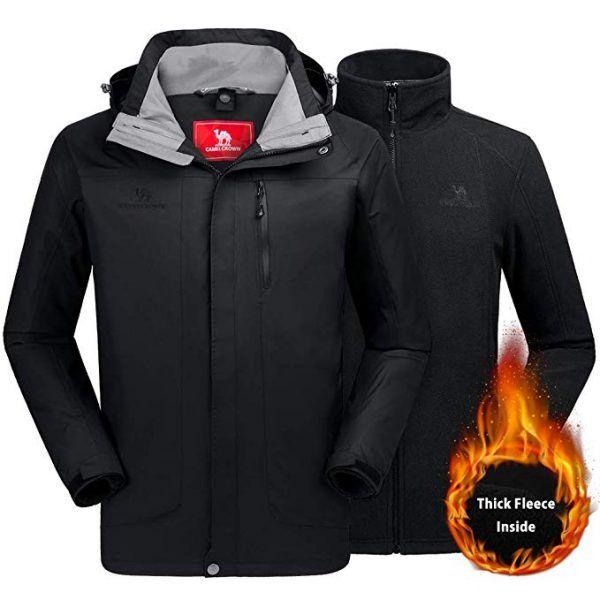 Mens 3in1 Waterproof Sports Fleece Jacket Winter Ski Outdoor Thicken Coat Hoodie